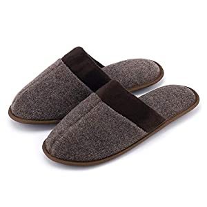 K KomForme Slippers for Men, Woolen Slippers with Memory Foam Anti-Slip House Breathable Indoor Shoes