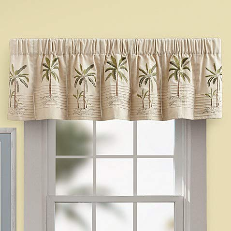 (Palm Tree Valance in Ivory, 100% Polyester, 63