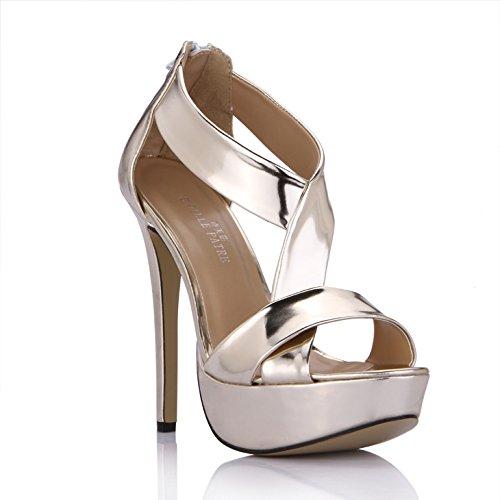 Pale heel Shoes Alto De Sandalias Agua Escritorio Luz Kim Gold Femenina Banquetes Mujer Verano Zapatos Espejo Bnw7q6