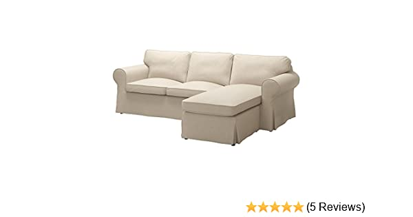 IKEA Original Ektorp Cover for Sofa with Chaise, 3-Seat Sectional (Cover Only (Nordvalla Dark Beige)