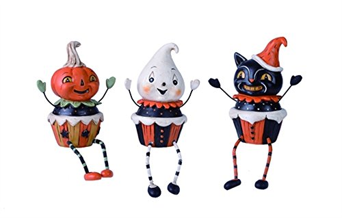 Halloween Pumpkin, Ghost and Cat Cupcake 7 x 4.5 Resin Shelf Sitter Figurine Set of 3