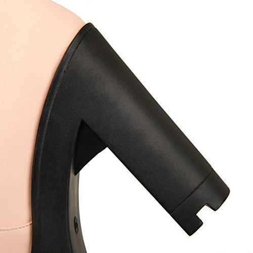 On Solid Toe High Pu Heels Pull AmoonyFashion Peep Sandals Womens Pink BFYPcZEx8f