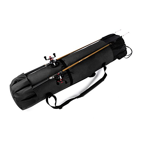 Wowelife Fishing Rod Carrier Fishing Reel Organizer Pole Storage Bag for Fishing and Traveling,A Gift for Family Father, Daughter and Friends (Black)