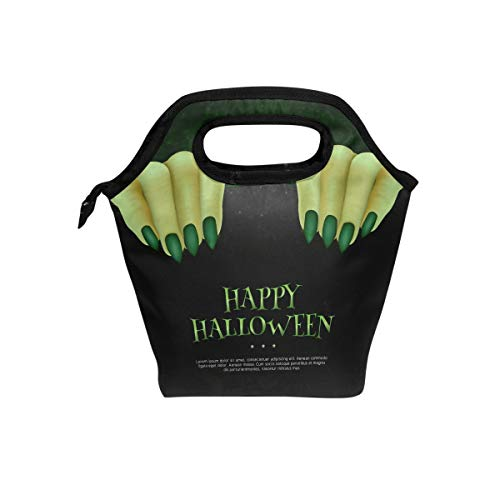 High Nail Monster (Insulated Lunch Bag Tote Monster Hands Green Nails Reusable Cooler Waterproof School Picnic Carrying Gourmet Lunchbox Container Organizer)