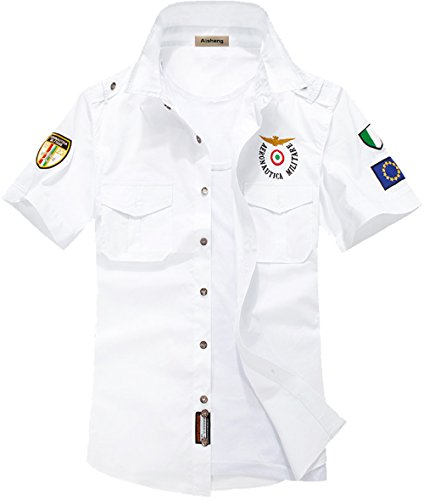 S&S-Men Fashion Cool Pilot Air Force Uniform Short Sleeve Dress Shirt White