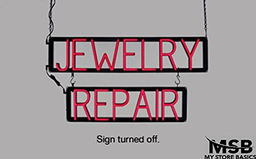 15 x 28in Jewelry Repair Neon Look LED Technology Animated Store Window Sign
