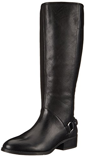Lauren Ralph Lauren Women's Micaela Wide Calf Riding Boot, Black Burnished Calf, 6 B US