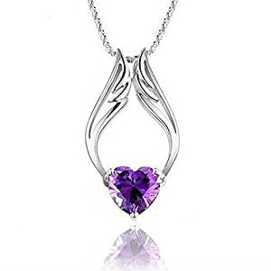 """Fashion White Rhodium Plated Heart Purple Synthetic Stone Angel Wings Pendant with Free 18"""" Necklace Chain"""