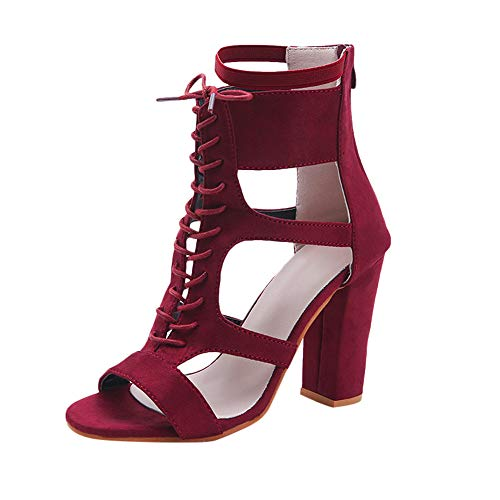Red Lion Solid Rugby - Pandaie Womens ... Sandals Women Ladies Sandals Pointed Toe High Heels Zip Office Solid Straps Heel Shoes Red