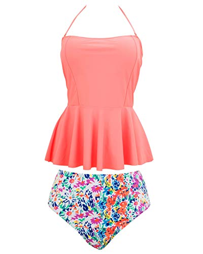 2 Tankini Skirted Piece (Lorasea Women Plus Size Bandeau Skirted Tankini Swimsuit Two Piece Slimming Tummy Control Swimdress Bathing Suits (Peach,XXL))