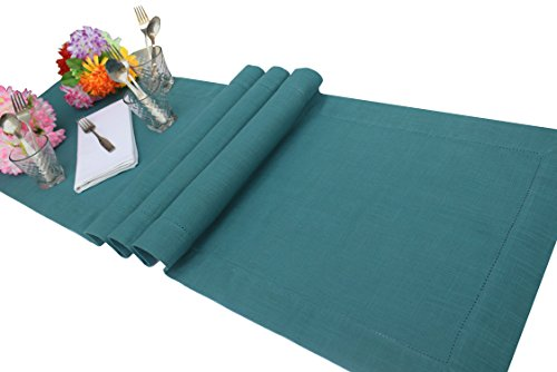 slub-cotton-table-runner-in-teal-color-with-hemstitched-detailing-and-mitered-corner-finish-on-edges