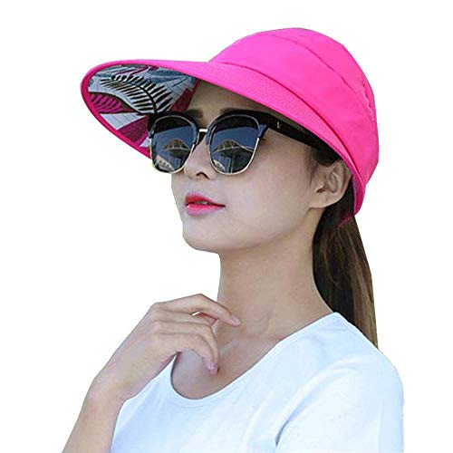 Sun Visor Hats for Women Large Wide Brim UV Protection Summer Beach Packable Cap (K-Rose -