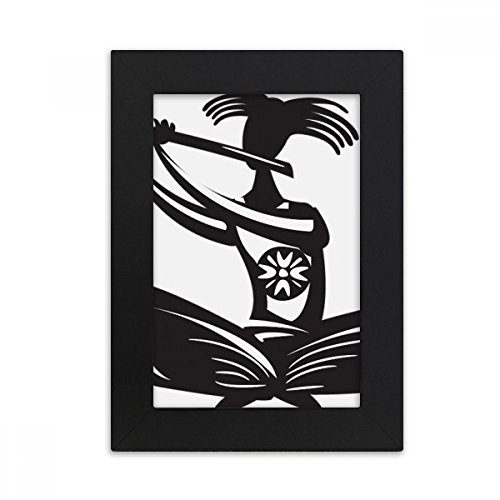 DIYthinker Flute Celebrate Silhouette Mexico Mexican Desktop Photo Frame Picture Black Art Painting 5x7 inch by DIYthinker