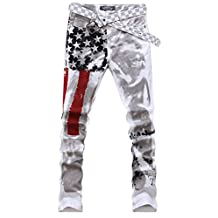 SkylineWears Men's Casual Printed Washed Denim Fashion Cotton Pants Trousers