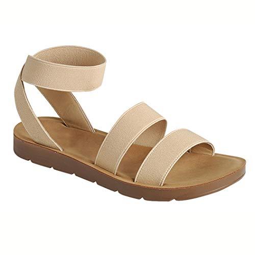 Strappy Slingback Sandals - Women's Flat Sandals Cross Slingback Double Elastic Band Strappy Open Toe Slip-on Summer Slides Beige 10