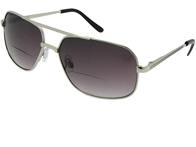 871e2b0c38 Amazon.com  Large Square Aviator Bifocal Sunglasses For Men B96 (Silver  Frame Gray Lenses