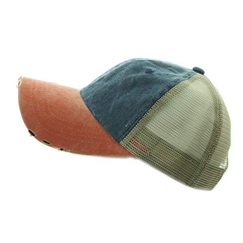 (Baseball Cap Distressed Dyed Washed Vintage Mesh Trucker Unisex Hat Plain Hats (Orange/Navy))