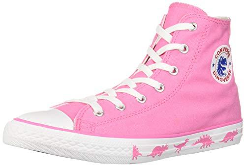 (Converse Girls Kids' Chuck Taylor All Star Dinoverse High Top Sneaker, Pink White, 2 M US Little)