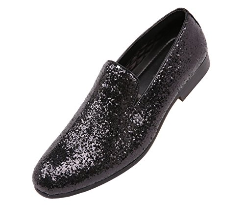 - Amali Mens Metallic Sparkling Glitter Tuxedo Slip On Smoking Slipper Dress Shoe