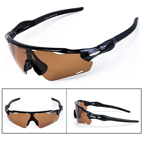 Batfox Polarized Sports Sunglasses with Interchangeable Lenses for Men women Running Cycling Baseball Fishing Outdoor 100% UV Protection(Brown, - Jogging Sunglasses For