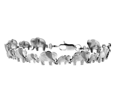 Petits Merveilles D'amour - 10 ct Or Blanc Bracelet - Eléphant Bracelet