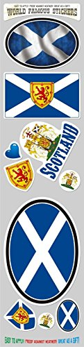 Car Chrome Decals STS-SCOT Scotland 10 stickers set flag Scottish decal bumper stiker car auto bike laptop