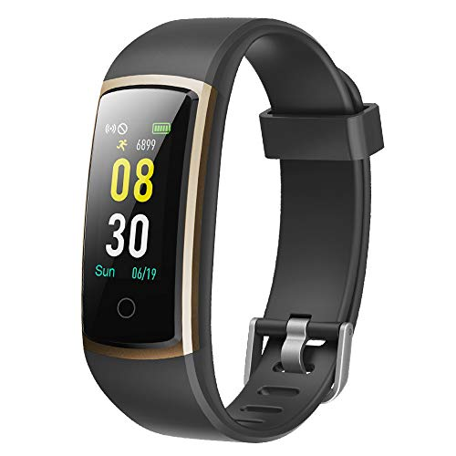YAMAY Fitness Tracker with Blood Pressure Monitor Heart Rate Monitor Watch,IP68 Waterproof Activity Tracker 14 Modes Smart Watch with Step Counter Sleep Tracker,Fitness Watch for Women Men (Gold) Best Heart Rate Monitor Watch