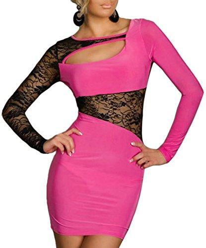 Simple-Fashion Verano Mujer Cuello Moda Transparente Encaje Costura Vestido Sexy Bodycon Corto Vestidos de Partido Cóctel Fiesta Club Nocturno Slim Redondo Hueco Manga Larga Mini Vestido Rosa