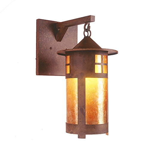 Bronze Pasadena Bathroom Lighting - Steel Partners Lighting 2161-AB PASADENA Hanging Sconce with Amber Mica Lens, Architectural Bronze Finish