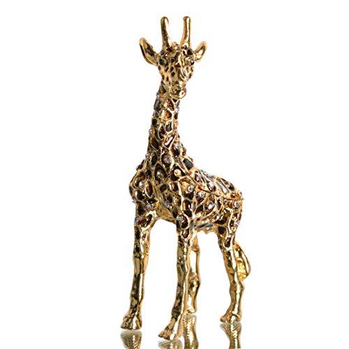 Waltz&F Big Gold Giraffe Trinket Box Hinged Hand-Painted Figurine Collectible Ring Holder Living Ornaments Shooting Props (Gold Giraffe Figurine)