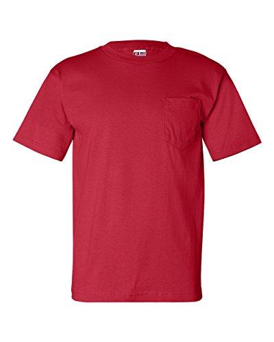 Bayside Men's Classic Style Heavyweight Pocket T-Shirt, Red, (Bayside Classic T-shirt)