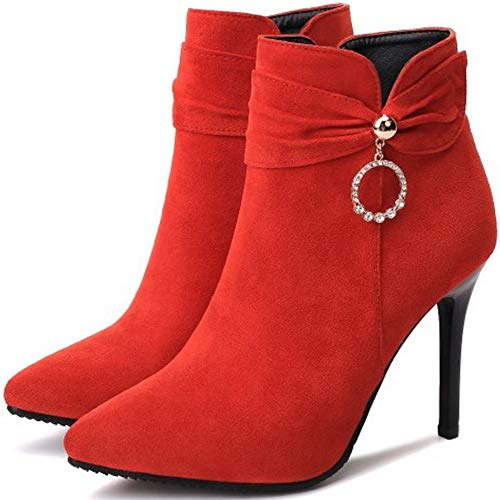Talons Bottines Boucle Femmes Pointu 2 Taoffen Boots Rouge Hauts Cheville wnFZT1OqH