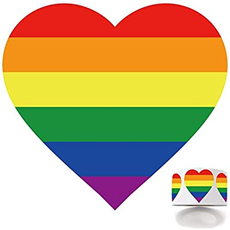 Love Rainbow Stickers Roll in Heart-Shaped Envelope Sealing and Lesbian Gay Group Activities Crafts Pride Flag Labels for Gifts 1000 Gay Pride Rainbow Stickers on a Roll 1.4 x 1.5 Inches.