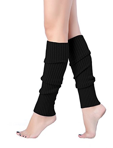 Women's Black Knitted Leg Warmers for Flashdance Look