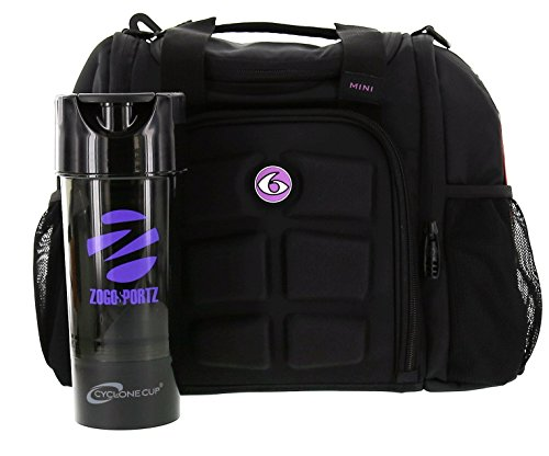 Black Modular Base (6 Pack Fitness Bag Mini Innovator Black/Neon Purple w/Bonus ZogoSportz Cyclone Shaker)