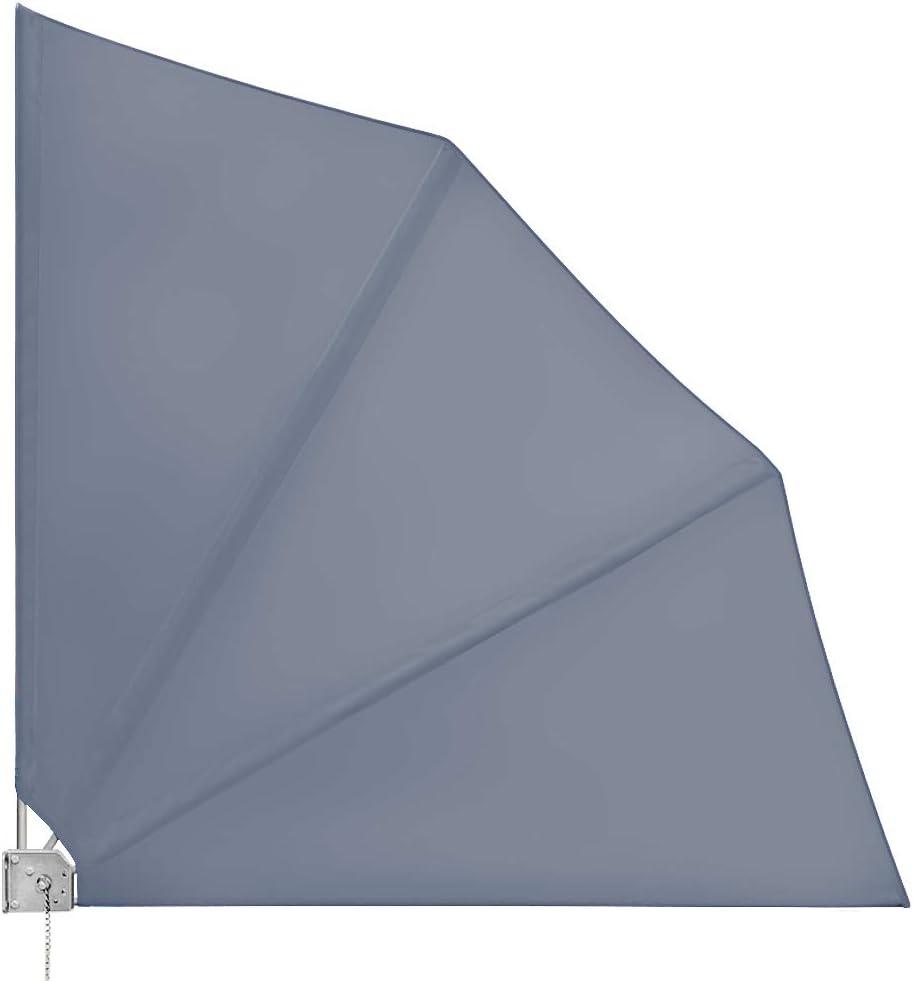 Balkonfächer klappbar mit Wandhalterung 140x140cm in anthrazit witterungsbeständig inkl. Montagematerial / Seitenmarkise