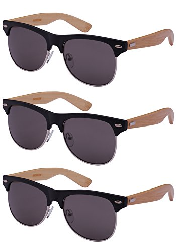 Edge I-Wear 3 Pack Retro Horned Rim Bamboo Wood Sunglasses W/Solid Lens - Classes Retro