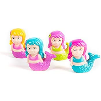 """12 Pack Squirting Bath Toys 3"""" Mermaid Squirts Baby and Children Bath Toys in Assorted Vivid Colors 1 Dozen"""
