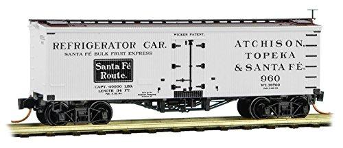 Micro-Trains MTL N-Scale 36ft Wood Sheathed Ice Reefer Santa Fe/ATSF/White #960