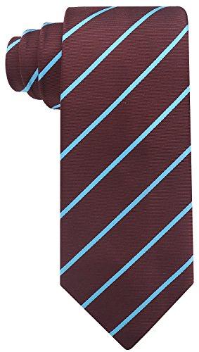 Pencil Stripe Ties for Men - Woven Necktie - Brown w/Blue