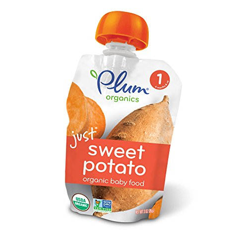 Plum Organics Stage 1, Organic Baby Food, Just Sweet Potato, 3.0 ounce pouch (Pack of (Organic Sweet Potato)