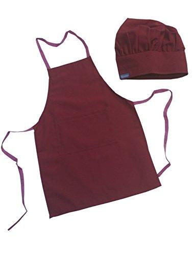 CHEFSKIN Set Apron + Hat RASPBERRY BUBBLE GUM RED color Chef Costume Small Fits Kids Children - Gum Ribbon Bubble