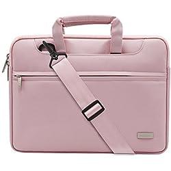Mosiso Polyester Laptop Shoulder Bag Briefcase Sleeve Case Cover Handbag for 13-13.3 Inch MacBook Notebook with Back Belt for Trolly Case, Pink