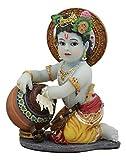 "Ebros Hindu God Baby Krishna Vishnu Stealing Butter Yogurt and Milk from The Gopis Statue 4.25"" High Eastern Enlightenment Hinduism Avatar Deity Gods Chitta Chora Stealer of Hearts"