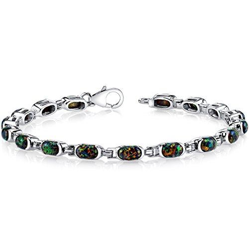(Created Black Opal Tennis Bracelet Sterling Silver Oval Cut 4.75 Carats)