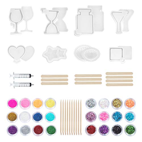 (54 Pack Resin Shaker Mold Kawaii UV Resin Molds, Crystal Silicone Hollow Mold, Epoxy Resin Charm Mold with Square, Heart, Star, Hourglass, Seashell, Wine Glass, Perfume Bottle, Beaker Glass Mold)
