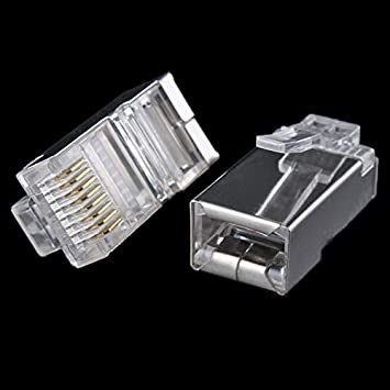 Cable Length: Other ShineBear 50x Metal Shield RJ45 RJ-45 8P8C Network CAT CAT5E Modular Plug Gold Plated Network Connector #8799