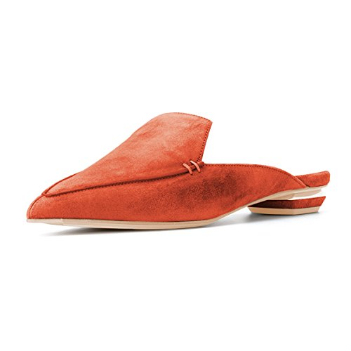 FSJ Women Fashion Faux Suede Mules Sandals Pointy Toe Casual Slip On Shoes Low Heels Size 4-15 US Orange Red