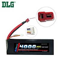 DLG 14.8V 4000mAh 4S 30C Burst 60C LiPO Li-Po High-Discharge Rate Powerful Battery with Dean's T Plug