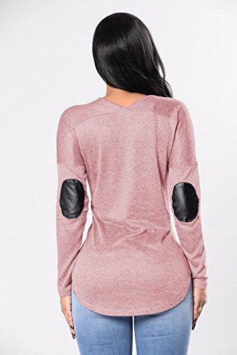 et Hauts Fashion Irregulier Femmes JackenLOVE Tee Printemps Longues Blouse Manches V Shirts T Col Chemisiers Automne Casual Jumper Rose Tops Cwq5URU